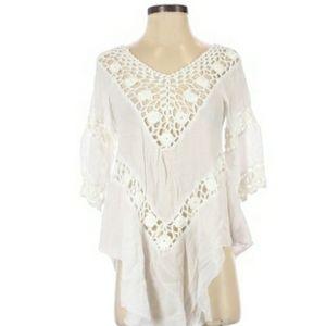 3/$20  White Crochet KNit boho bikini cover up s
